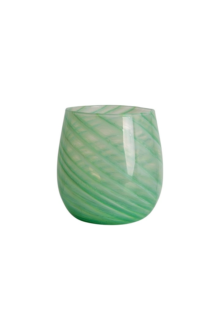 Green Short Candy Swirl Handblown Italian Glass