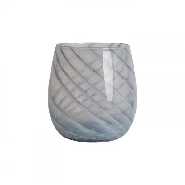 Grey Short Candy Swirl Handblown Italian Glass