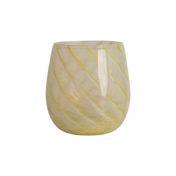 Yellow Short Candy Swirl Handblown Italian Glass