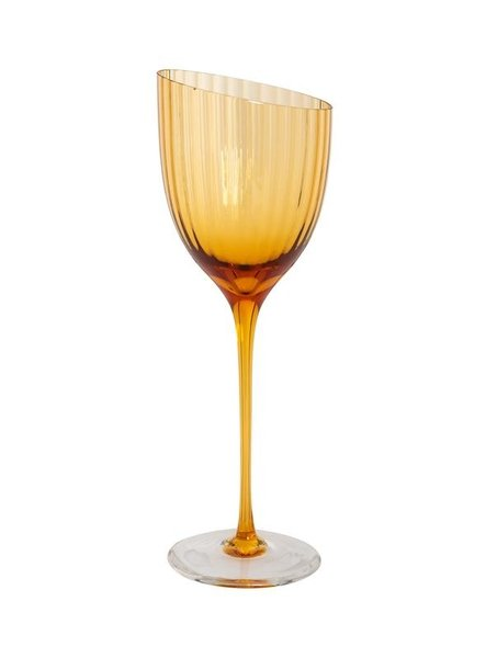 Burnt Orange Handblown Italian White Wine Glass