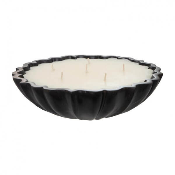 Lotus Flower Black Marble Candle