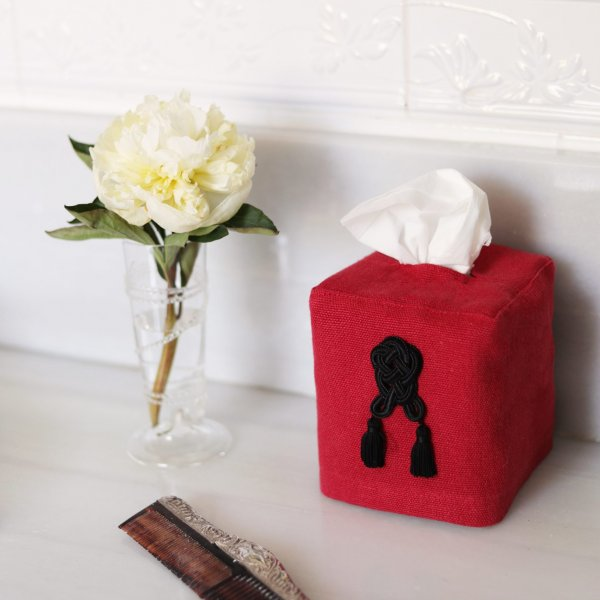 Private: Sevilla Linen Tissue Box Cover – Red
