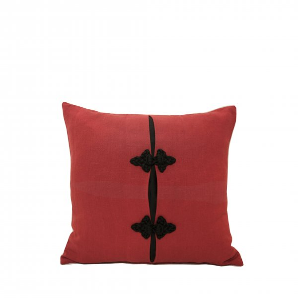 Sevilla Linen and Silk Cushion – Red