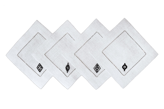 Pampa Set of 8 Linen Cocktail Napkins – White