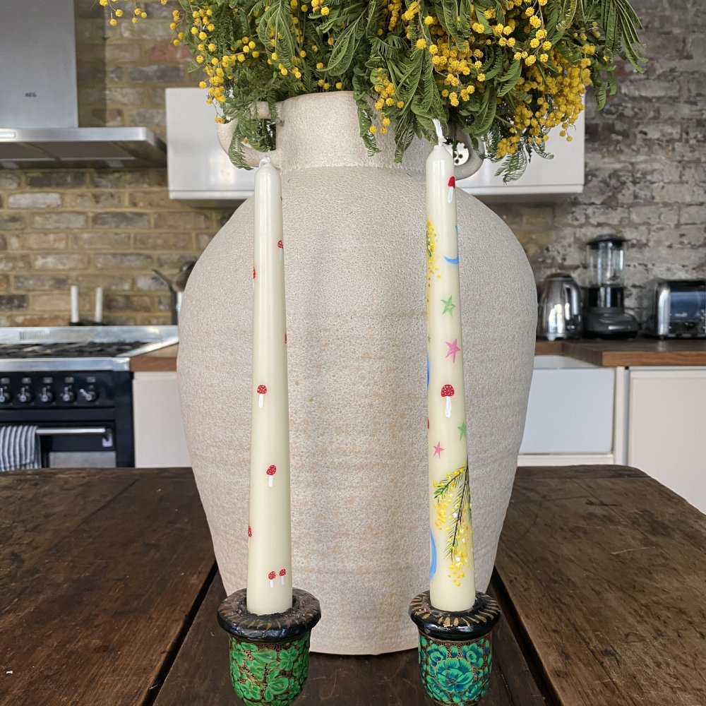 Orna Mimosa Floral Hand Painted Candle