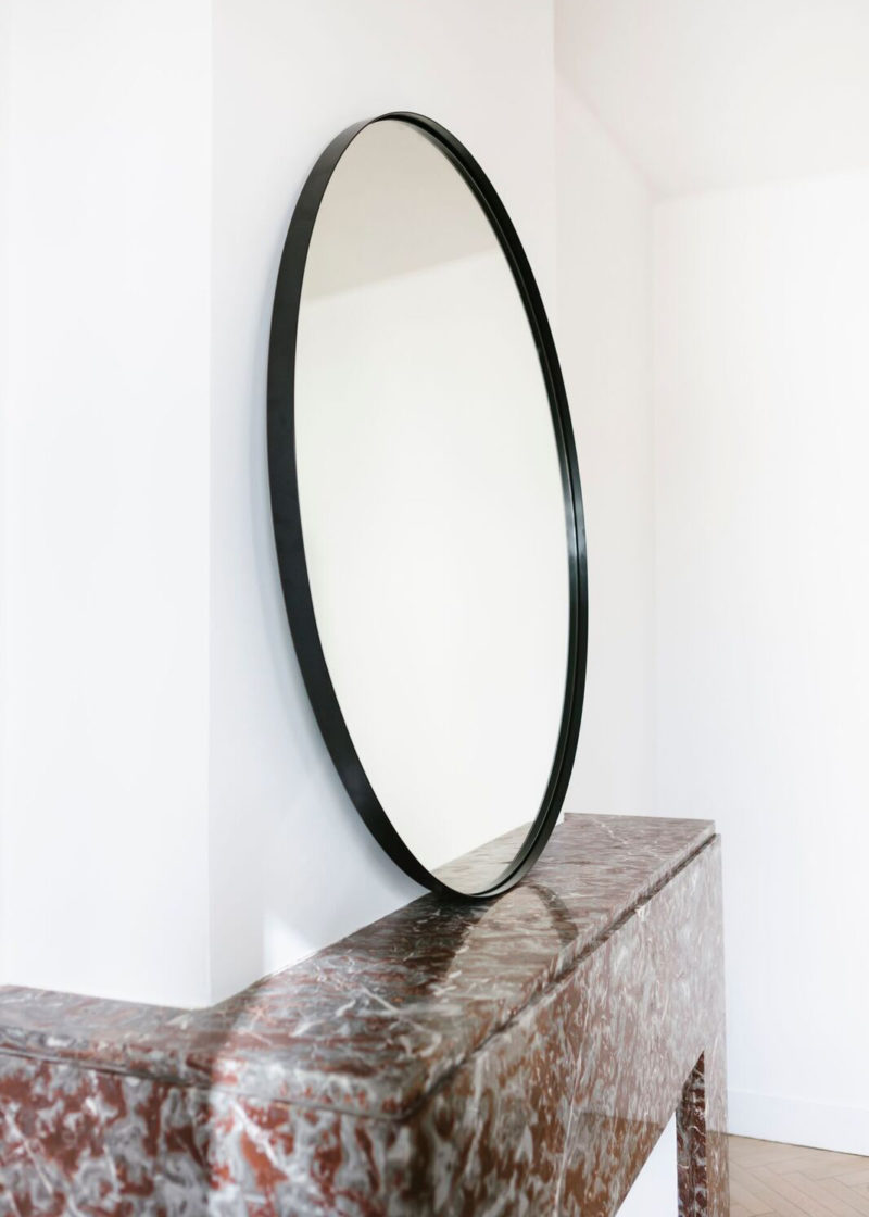 Extra Tall Béatrice Mirror in Black Lacquered Steel