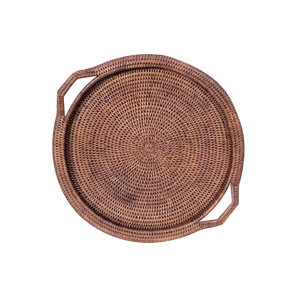 Inle Round Rattan Tray Brown