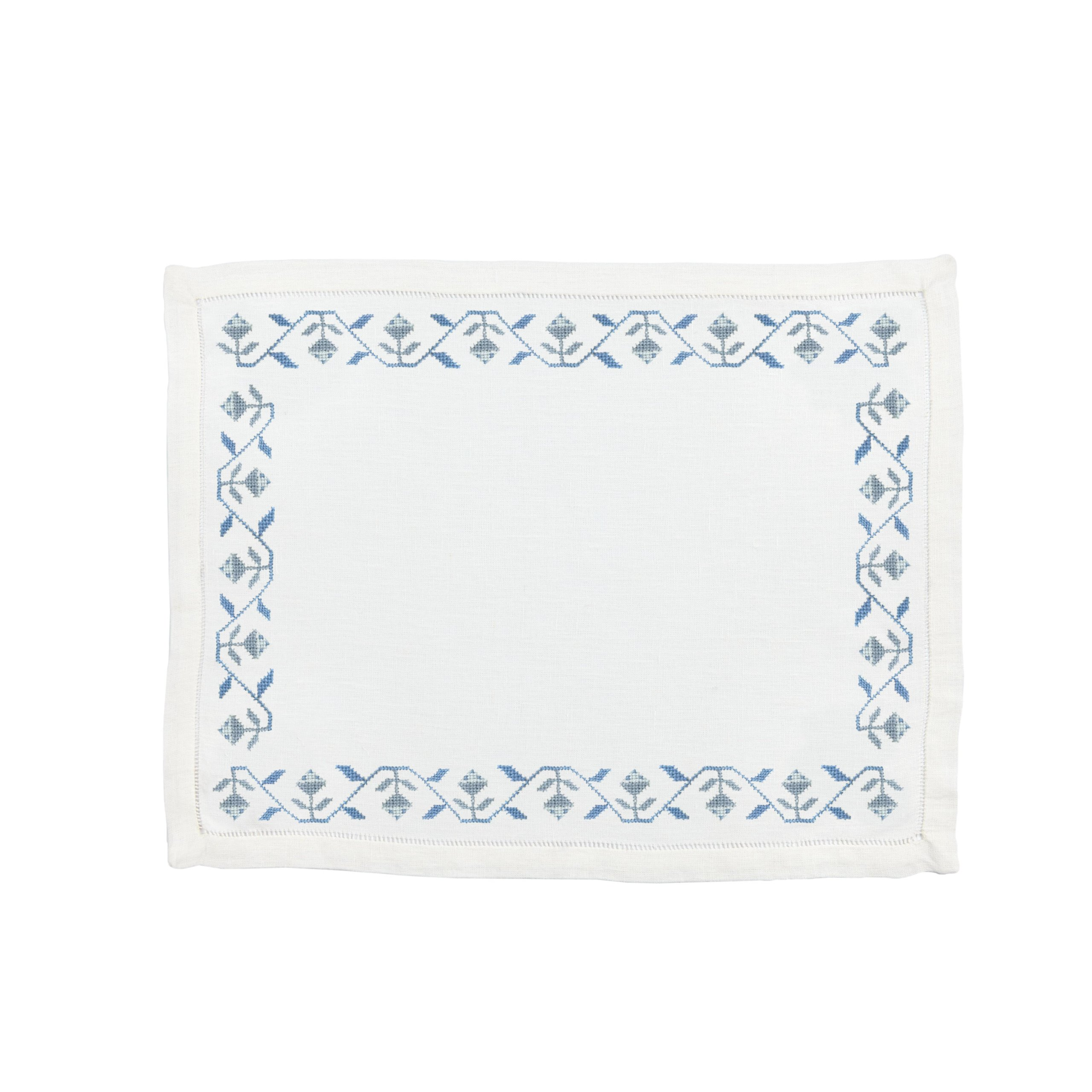 Rose Bud Placemat Blue Stream