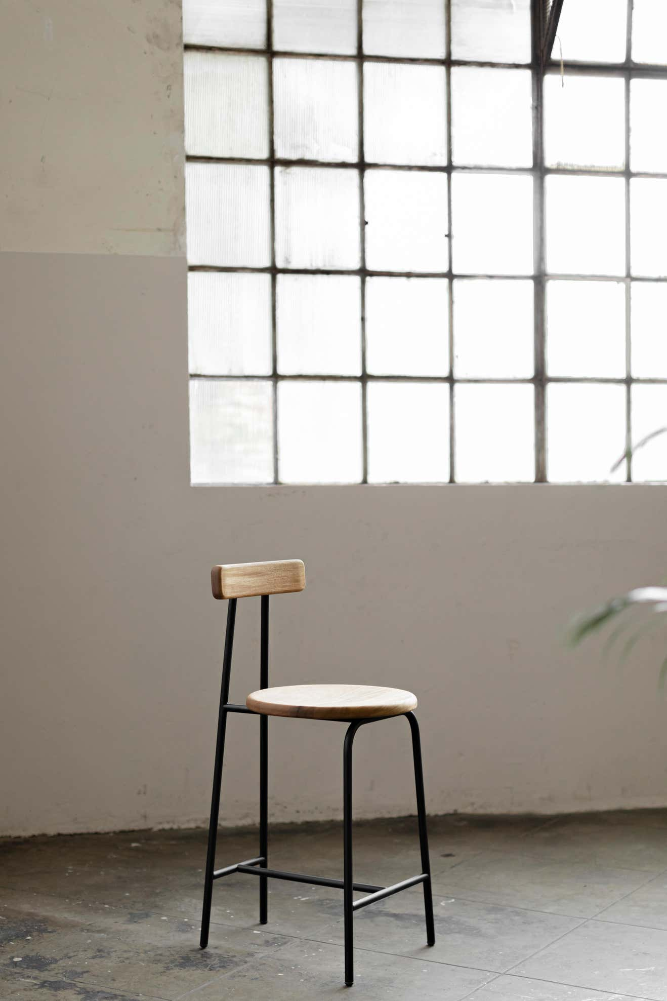 I Collection Wooden Stool with Metallic Structure