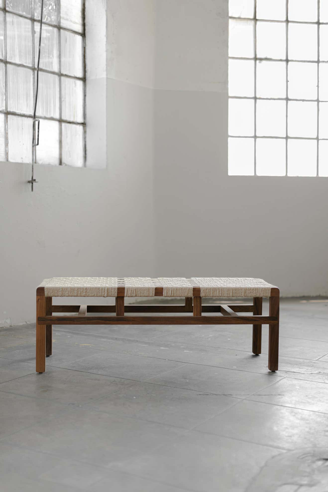 S Collection Wooden Bench Woven with Jute
