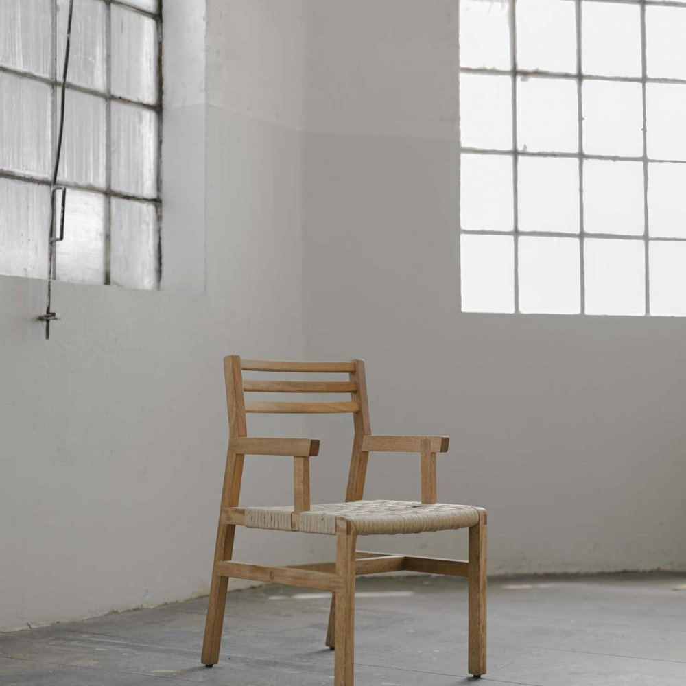 S Collection Wooden Chair with Armrest Handwoven with Jute