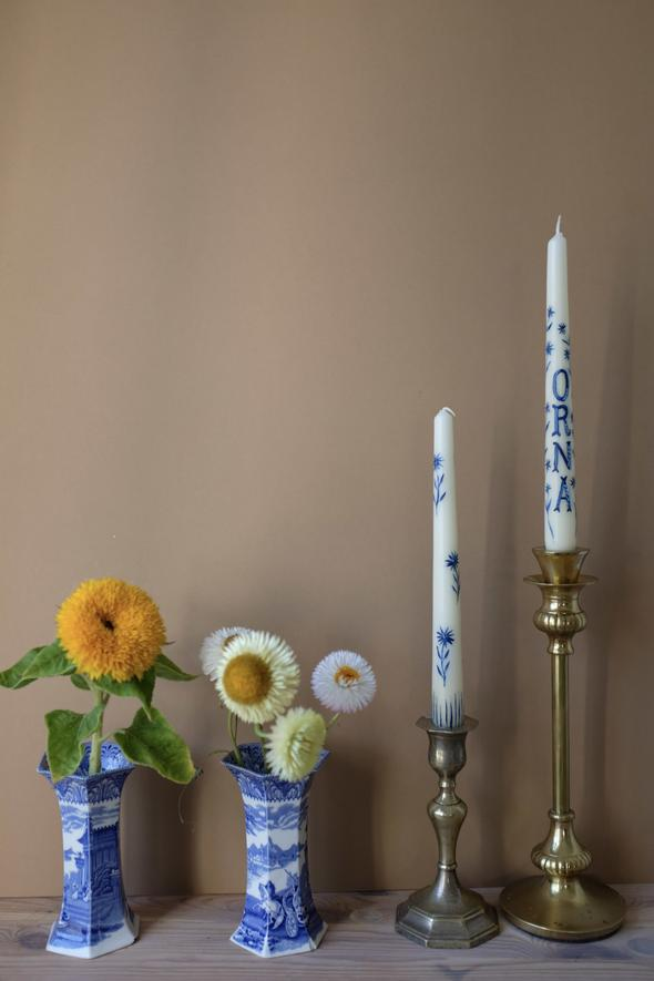 Orna Delicate Porcelain Flower Hand Painted Candle